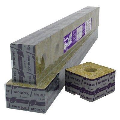 "Grodan Rockwool Delta 6.5 Block / Cube 4""x4""x2.5"" With Hole Strip of 6"