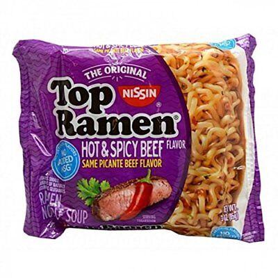 NISSIN TOP RAMEN HOT AND SPICY BEEF FLAVOR SAME PICANTE BEEF FLAVOR 3 oz Each ()