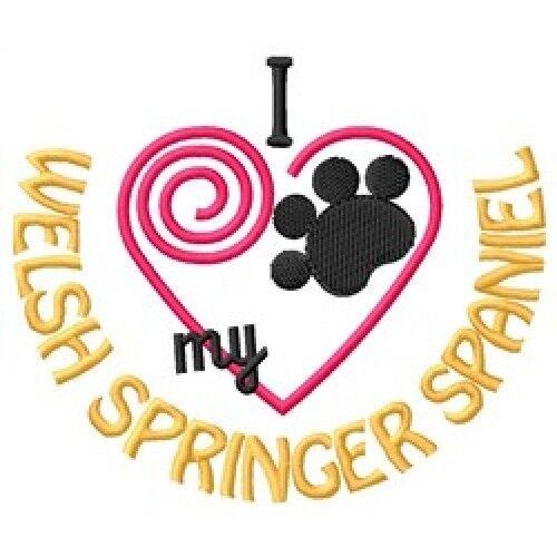 """I """"Heart"""" My Welsh Springer Spaniel Long-Sleeved T-Shirt 1374-2 Size S - XXL"""