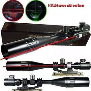 Details about 6-24x50 TACTICAL RIFLE SCOPE RED GREEN MIL-DOT w/PEPR MOUNT+SUNSHADE+LASER SIGHT