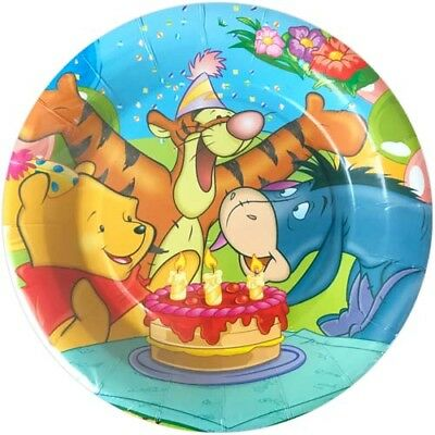 WINNIE THE POOH Birthday Cake LARGE PAPER PLATES (8) ~ Party Supplies Dinner - Paper Party Plates