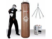 TurnerMAX Brown Genuine Leather Punching Bag For Boxing MMA Martial Arts Cowhide 4ft 5ft 6ft New
