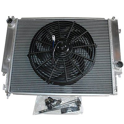 ALUMINUM RADIATOR for 92 99 BMW ALL E36 DUAL ROW W14 FAN