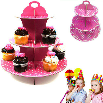 Dazzling Toys 3 Tier Cupcake Stand Holder Set Pink Polka Dot Party Decoration