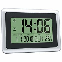 HeQiao Digital Wall Clocks Large Decorative Silent Desk Clock Battery Operated E