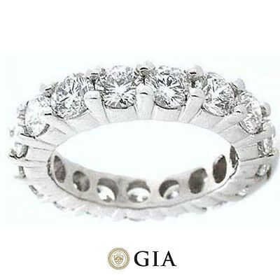 5.05 ct Round Diamond Ring Platinum Eternity Band E-F VS GIA Size 5 0.35 ct each