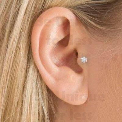 Flower Crystal Gem Tragus Helix Bar Cartilage Ear Earring Bone End Tragus Stud