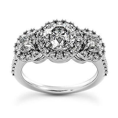 2 Ct Diamond Engagement Ring Round Cut White Gold 14k Enhanced D SI
