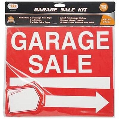 10 Pc Garage Sale Sign 10x12 Banner Yard Estate Moving Flea Market Sticker Lot