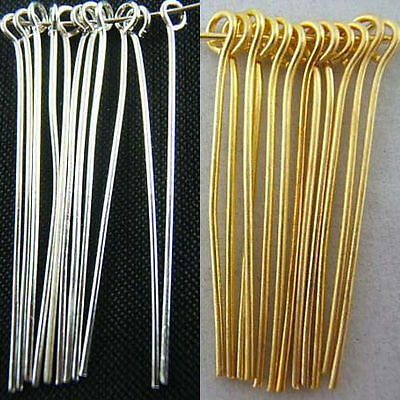Gold Plated Jewelry Findings - Wholesale Silver Plated Gold Plated Eye Pins Needles Jewelry Findings 6 Sizes