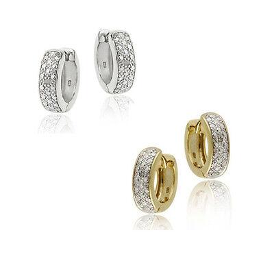 925 Silver Diamond Accented Mini Hoop Huggie Earrings - 2 Metals Fashionable Diamond Huggie Earrings