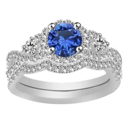 Blue Diamond Wedding Set Ebay