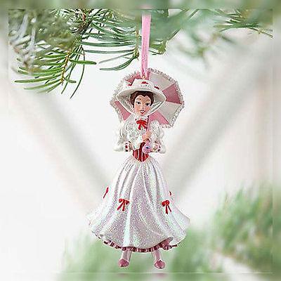 Disney Parks Mary Poppins Christmas Bonnet & Parasol Figural Ornament New