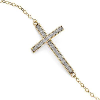 Diamond Cross Link Bracelet - 14k Yellow Gold Diamond Cut Sparkle Infused Cross Cable Link Bracelet 6