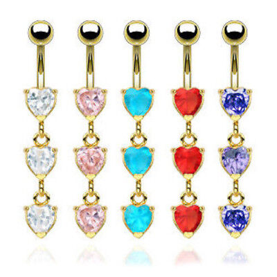 Triple Gold Heart Gem Belly Ring Navel Naval Clear, Pink, Aqua, Red, Purple