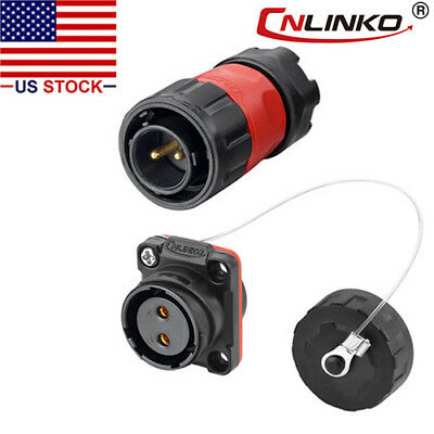 Cnlinko 2 Pin Power Connector Male Plug Female Socket Waterproof Outdoor Ip67