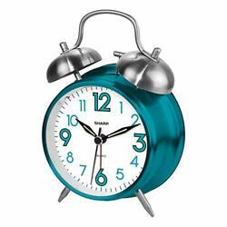 Brand New Sharp SPC851 Twin Bell Alarm Clock, Teal