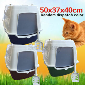 Portable Hooded Cat Toilet Litter Box Tray House W/ Handle Scoop