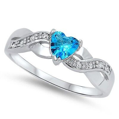 Band Blue Topaz Silver Ring (.925 Sterling Silver Infinity Heart Love Band Blue Topaz CZ Promise Ring NEW )
