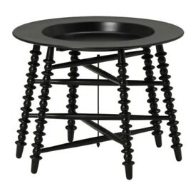 Discontinued IKEA Coffee Side Table Black Metal Tripod Ornate Legs