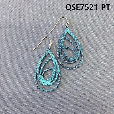 Patina Finished Twisted Teardrop Shape Spiral Design Drop Dangle Hook Earrings