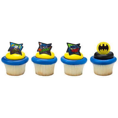R Comic Book POW! WHOOSHH! Birthday Party Cupcake Picks Ring (Batman Cupcake-picks)