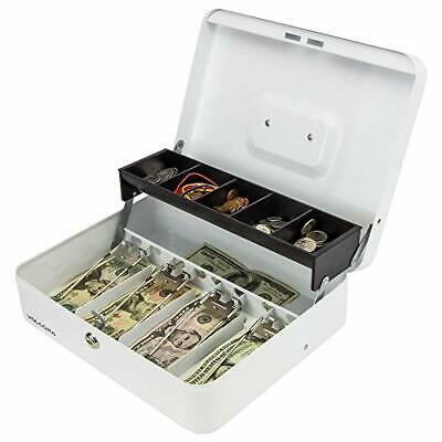 Cash Box White Steel With Safe Key Lock Tiered Money Coin Tray Bill Slots- New