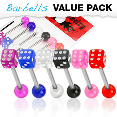 6 Colors Acrylic Dice Balls Surgical Steel Barbells Tongue Rings Pack