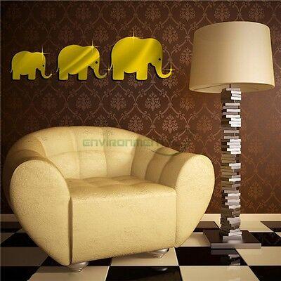 Elephants Gold Acrylic Plastic Mirror Wall ROOM ...
