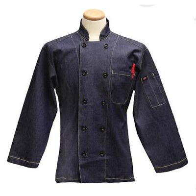 34 Sleeve Diamond Denim Navy Chef Coat Size Small