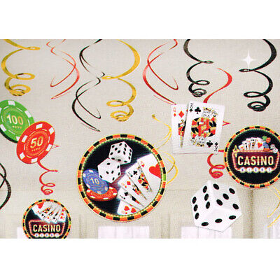 CASINO NIGHT HANGING SWIRL DECORATIONS (12) ~ Birthday Party Supplies Cutouts - Casino Party Decor