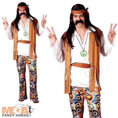Woodstock Hippie 1960s Mens Fancy Dress Hippy 1970s Adult 60s 70s Costume Outfit (Men's Woodstock Kostüme)