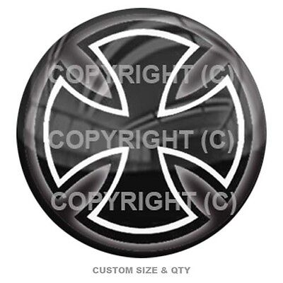Premium Glossy Round 3D Epoxy Domed Decal Indoor & Outdoor Use - Iron Cross BW 3d Iron Cross
