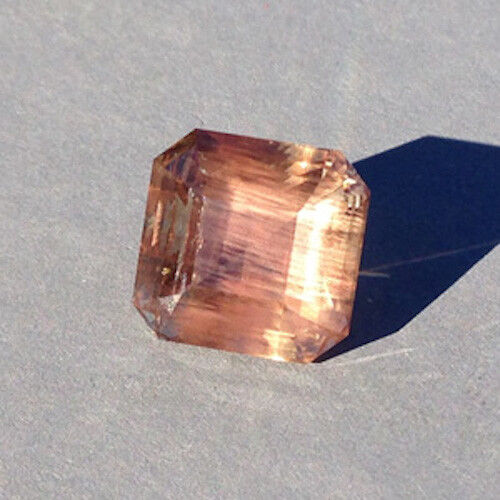"7.16 carat Oregon Sunstone In A Precision Emerald Cut with ""Copper Schiller"""