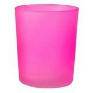 12-Pink-Frosted-Glass-wedding-tealight-candle-holder-ribbon-hens-girl-party-deco