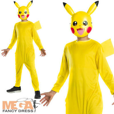 Pikachu Kids Fancy Dress Pokemon Animal Character Boys Girls Video Game Costume