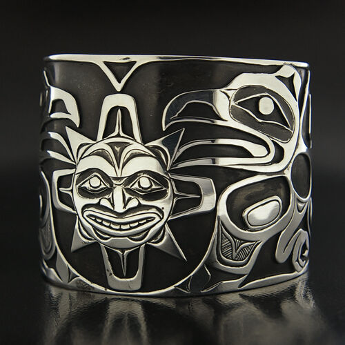 "Wide 2"" Raven Steals The Sun Hand Carved Overlay Cuff Northwest Native Bracelet"