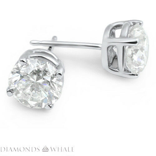 1 Ct Round Stud Diamond Earrings Vs2/d 18k White Gold Engagement, Enhanced
