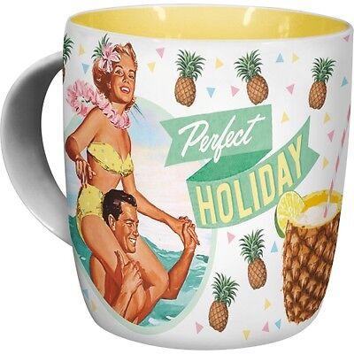 NOSTALGIE Kaffeetasse PERFECT HOLIDAY aus Keramik Kaffeepott Kaffeebecher NEU Holiday Becher