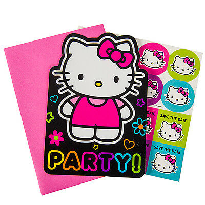 Hello Kitty Birthday Party Invitations - HELLO KITTY Neon Tween INVITATIONS (8) ~ Birthday Party Supplies Stationery Card