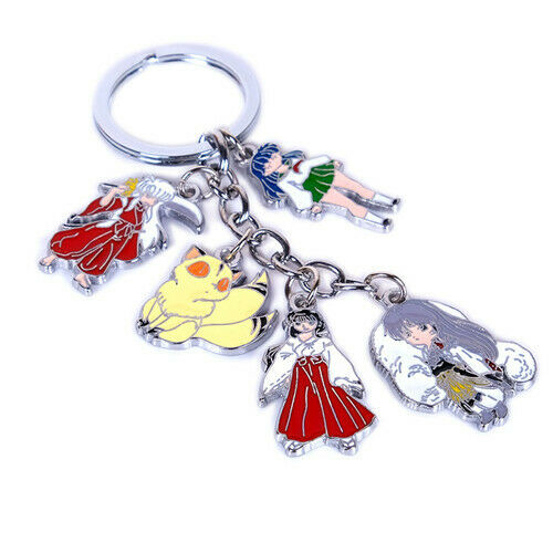 5pcs/set Anime Inuyasha Metal Pendant Keychain Cosplay Bag Ornament Keyring