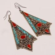Sterling Turquoise Coral Earrings