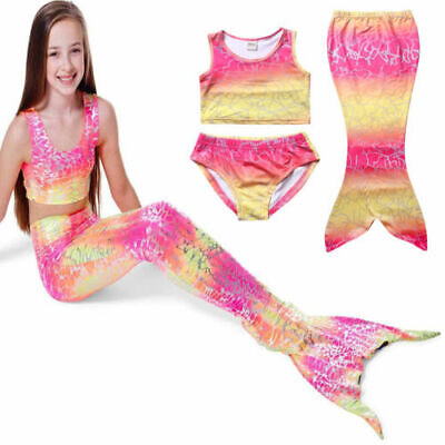 Mermaid Tails Bandage Top Three Pcs Swimming Swimsuit Sets Bathing Suit for Girl ()