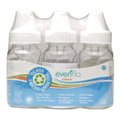 3 Pk Evenflo 4 oz or 8 oz Twist Classic Real Glass Baby Bottles BPA Free. NEW
