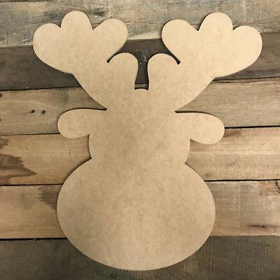 Christmas Reindeer Cutout, Unfinished Wood Shape, Wood Paintable Craft