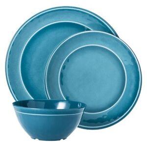 threshold round melamine 12 piece dinnerware set teal