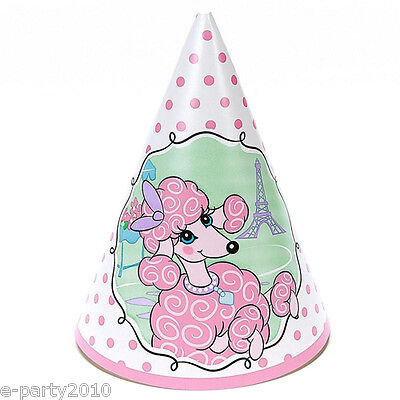 PINK POODLE IN PARIS CONE HATS (8) ~ 1st Birthday Party Supplies Favors Pink
