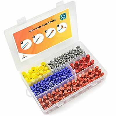 240 Pcs Wire Nuts Assortment With Spring Insert Wire Nuts Caps Kit Electrical -