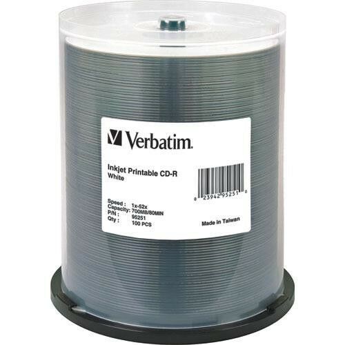 Verbatim CD-R 700MB White Wide Inkjet 52x Spindle of 100 - AA95252