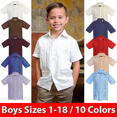 Kids Boys Guayabera Short Sleeve Cuban Shirt Wedding Beach Casual Junior - NEW